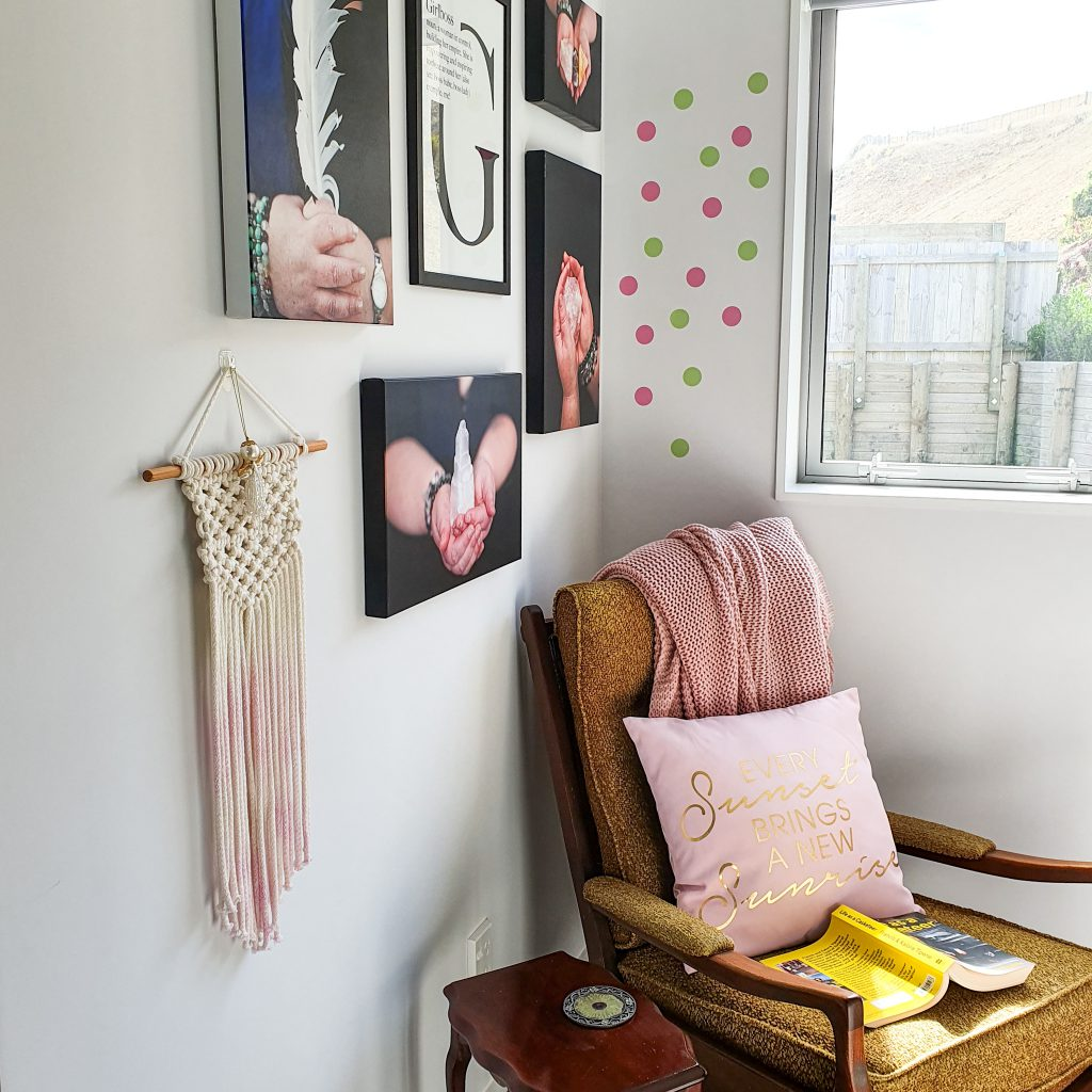 chair and book in reading nook