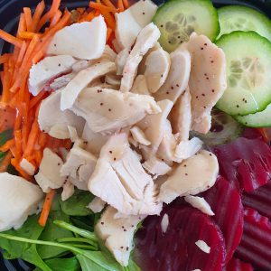 turkey and raw salad vegetables